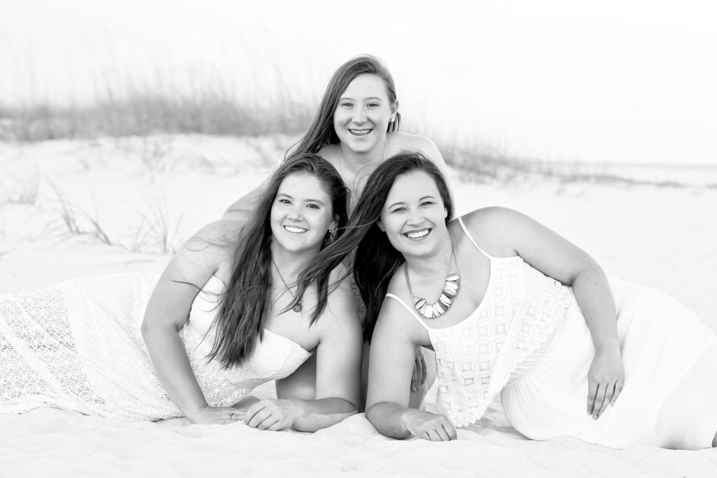 Three Sisters Enjoying the Beach and Gulf for the First Time.